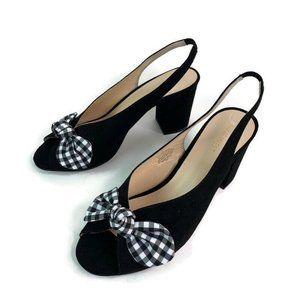 Nine West Luciano Black Peep Toe Slip On Sandal 9M
